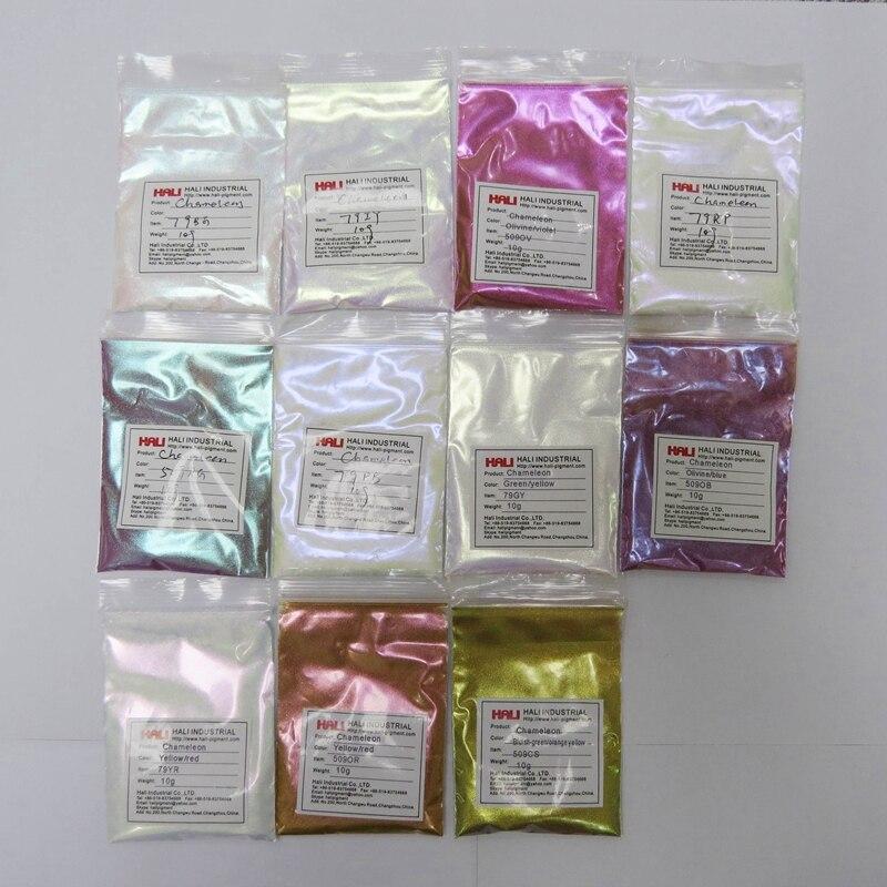 카멜레온 안료 여러 가지 빛깔의 변경 분말, 1lot = 11item * 10gram 총 110 gram, 무료 배송.-에서아크릴 페인트부터 사무실 & 학교 용품 의  그룹 1