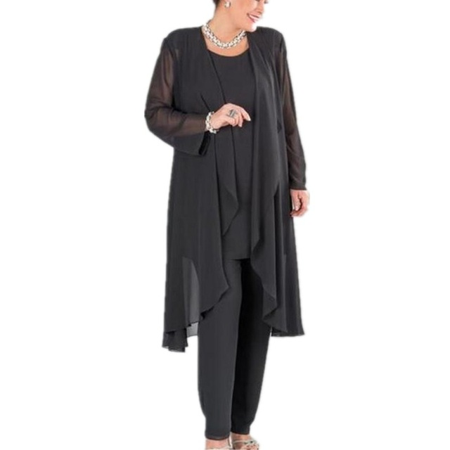 f539c28aca6 Plus Size Black Gray Mother Of The Bride Pant Suits with Jacket Mother Bride  Pants Suit Chiffon For Wedding Party Women Outfits
