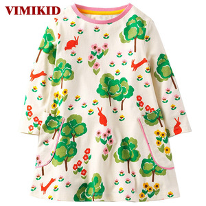 Платье принцессы VIMIKID, Брендовое весенне-осеннее платье с длинными рукавами для маленьких девочек, детская туника, трикотажное платье для д...