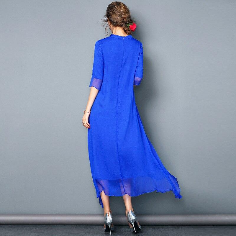 Femme Xxl M blanc Solide Réel D'été L Soie Xxxl Cheville Du Bleu Élégant Femmes Grande Taille Longue rouge Xl longueur Robe Mûrier Noble qI4aB