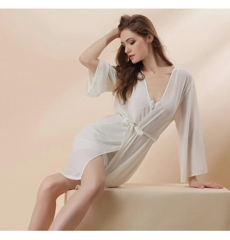 white chiffon sexy lingerie robes set 2