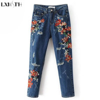 LXMSTH Denim Embroidered Jeans Women Pants Fashion Europe And America Style High Waist Thin Washing Hole