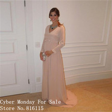 Sexy V-ausschnitt Lange Prom Kleider Schöne Erröten Rosa Baby Dusche Langarm Schwangere Frauen Kleid Formale Kleider