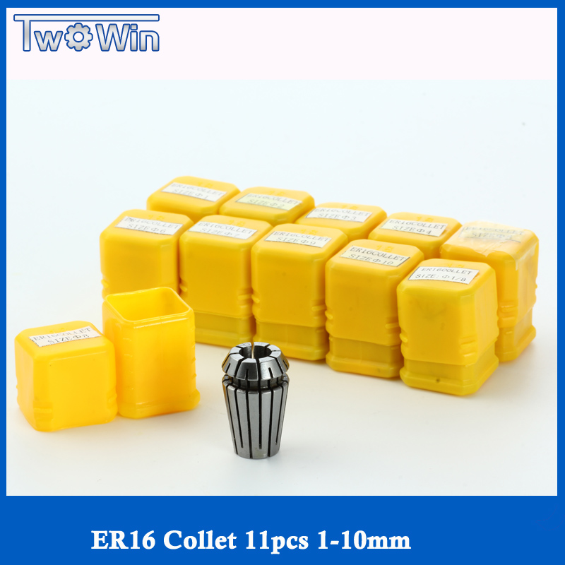 ER16 collet set 11 pcs from 1 mm to 10mm ER16 collet chuck for CNC milling lathe tool and spindle motor bt30 er16 60 tool holder for cnc router spindle motor and milling lathe tool boring end mill