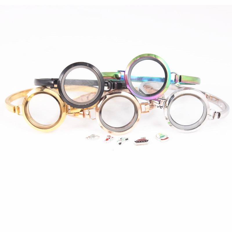 10 개/몫 믹스 (실버 골드 로즈 골드 블랙 레인보우 컬러) 30mm 스테인레스 스틸 플로팅 로켓 팔찌 플로팅 매력 팔찌-에서뱅글부터 쥬얼리 및 액세서리 의  그룹 1