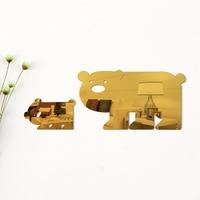 Orso animale 3D Wall Sticker Muraux Cita Arte Background Miroir Baby Room Acrilico Specchio Adesivo Decorativo