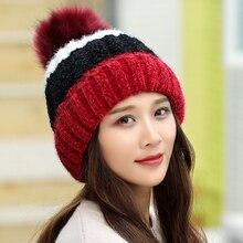 HT1959 Autumn Winter Hat Female Ball Fur Pom Poms Hats for Women Ladies Hat Knitted Beanies Cap Hat Thick Women Skullies Beanies