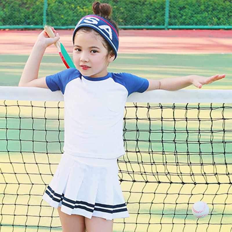 все цены на Summer 2017 Baby Girls Active Clothing Sets Children Short Sleeve Tops + Skirts Sets Girl Tennis Set Kids Girls' School clothes онлайн