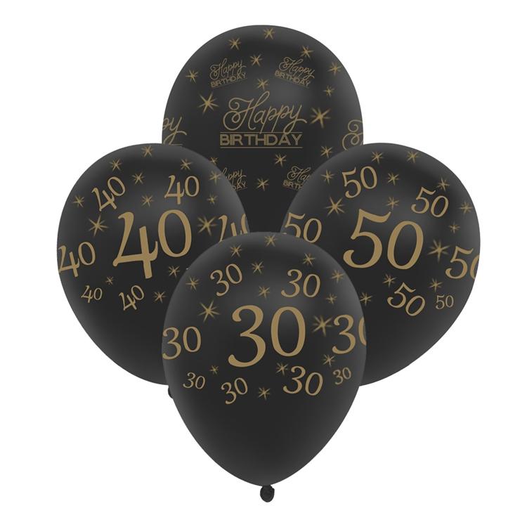 60th Birthday Balloon Black 10 Pcs