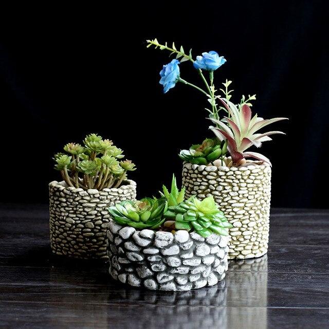Moules de ciment en Silicone, pot de fleurs en Silicone, multi viande, Vase 3D pour bureau, plantation de ciment, artisanat décoratif à domicile
