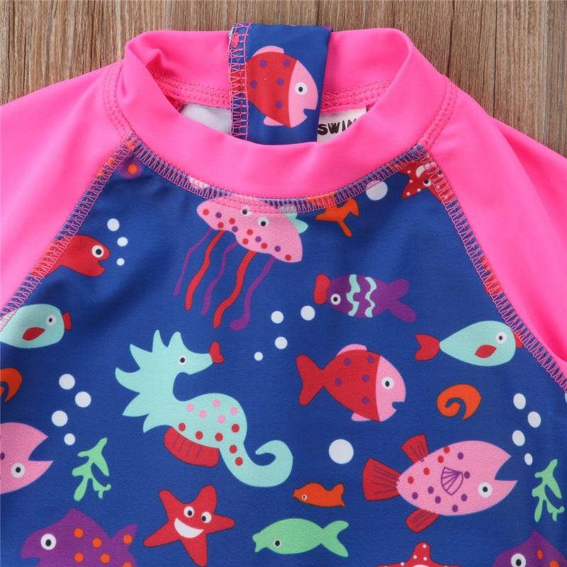 778282848e Cartoon Animal Print Kids Baby Girls Bathing Suit Sun Protective Brand New  Surf Swimsuit Long Sleeve Zipper Swimwear Beachwear-in Children's One-Piece  Suits ...