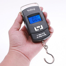 50kg*10g Mini Digital Scale Hanging Luggage Fishing Weighing Scale Fine Weighing Balance LCD Display with Blue Background Llight