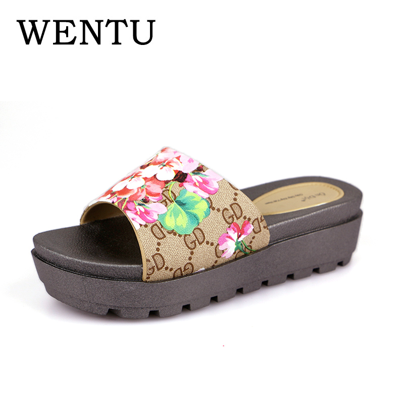 WENTU Shale Women Slippers Beach Women Flip Flops Platform Slippers Women's Sandals On The Platform Slippers Ladies