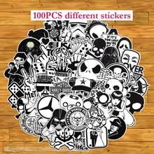 100Pcs Black White Stickers Pack Terror Skull Pegatinas Horror Skeleton Graffiti Funny Sticker Bomb For Skateboard Motorcycle