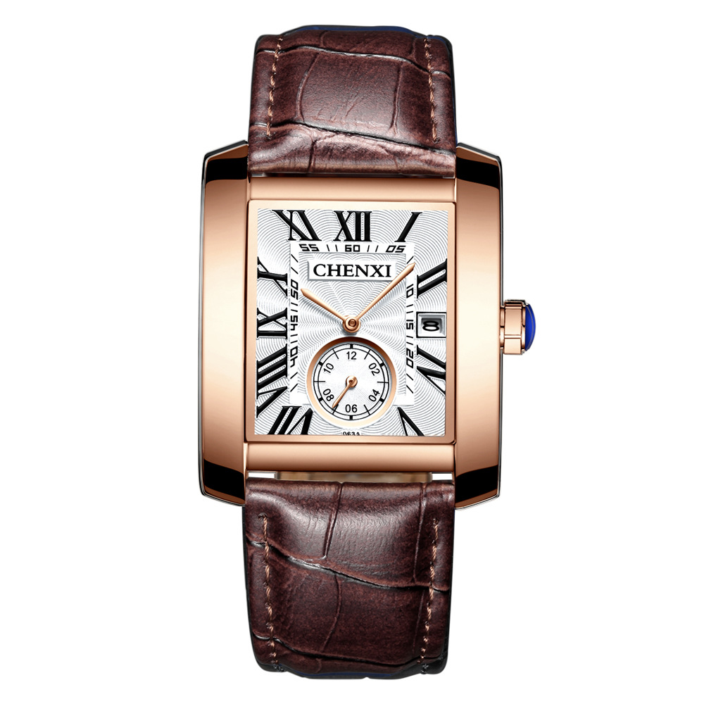 Luksuslik bränd CHENXI Square Men Kellad Unikaalne disain Rose Gold kalender Stop Watch Ehtne nahk Quartz Business Watch mees