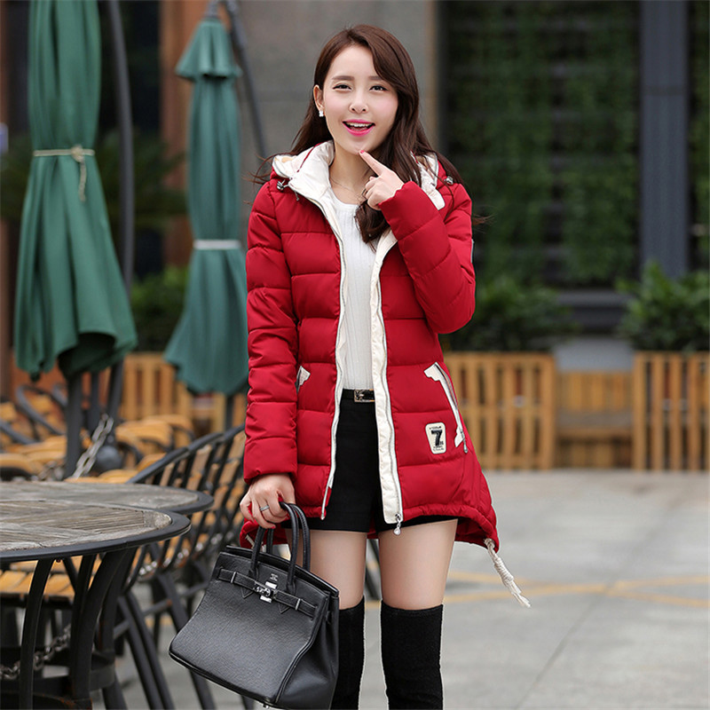 Fashion Winter Coat Women Slim Thin Jackets Female Long Section Padded Cotton Jacket Plus Size Feminine Coat Hooded Parka C812 wadded jacket female short winter coat women slim thin coat removable hooded cotton female parka casual jackets plus size c1118