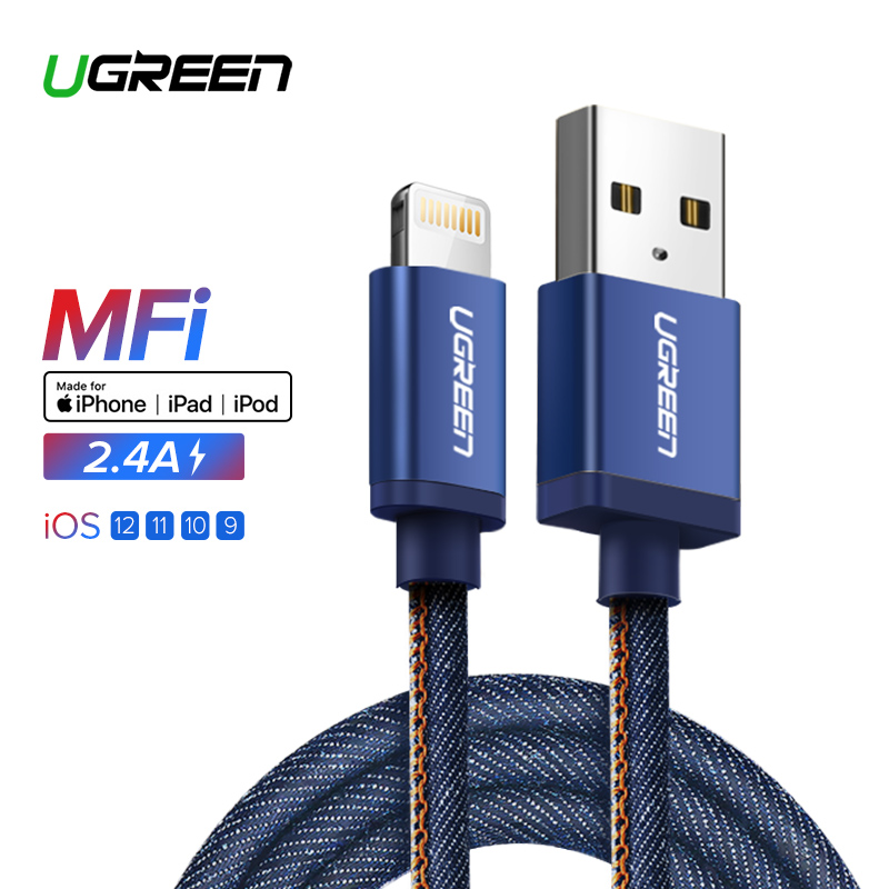Ugreen MFI Lightning cable para iPhone 7 Denim trenzado 8 Pasadores cable USB cargador rápido cable de datos para iPhone 8 8 más 6 5 IPad cable
