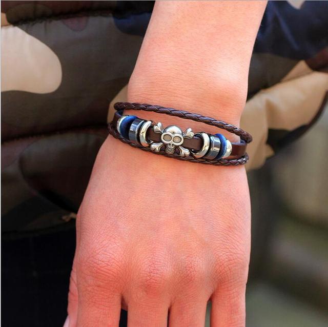 Skull Alloy Leather Bracelet