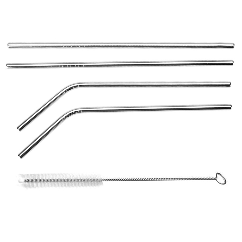 Reusable Bent Straight Stainless Steel Straws Cleaning Brush Cocktail Juice Soda Drinking Straws Metal Straws for 20Oz Rambler Tumblers Bar Accessories (5)