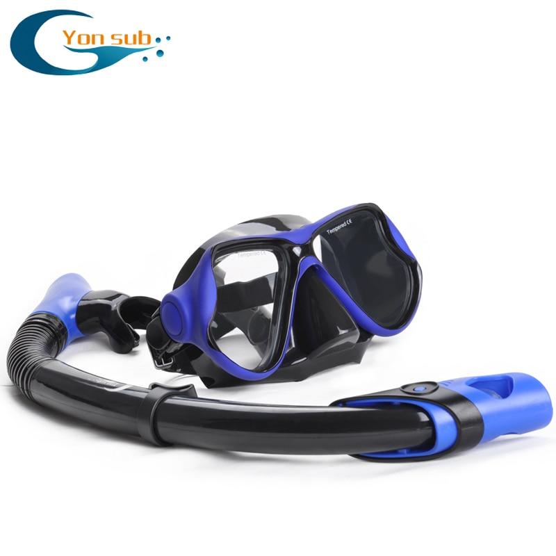 Silikon Dykning Dykning och Snorkel Set Tempererade Glas Dubbla Linser Simglasögon Undervattensutrustning YM288YS03