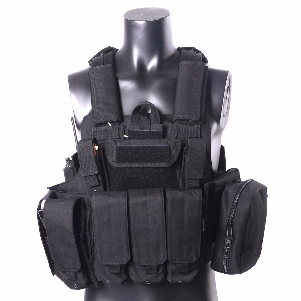 Airsoft Tactical Military Molle Combat Assault Plate Carrier Vest With 7 Modular Pouches Hunting CS Outdoor Hunting vest airsoft adults cs field game skeleton warrior skull paintball mask
