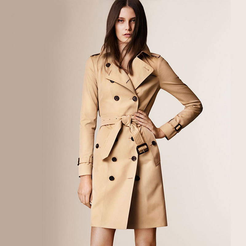 Brand Cotton Gabardine Trench Coat 2018 Fashion Khaki Turn