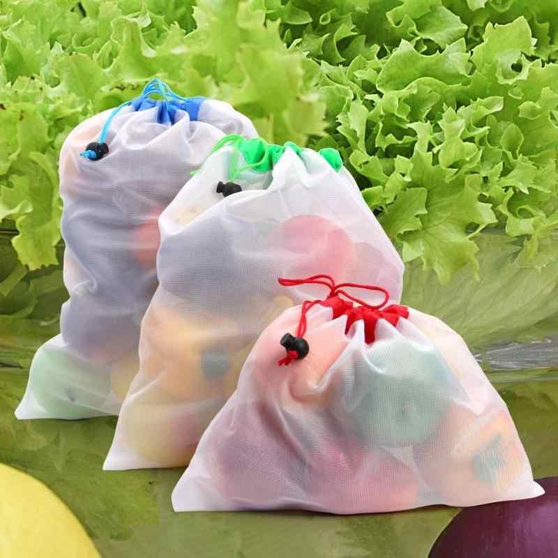 15 PCS Malha Sacos Para Roupa De Malha Saco Bolsa De Armazenamento Lavável Reutilizável Produzir Brinquedos de Corda Sacos De Legumes Fruta Sacos do Organizador Cestas