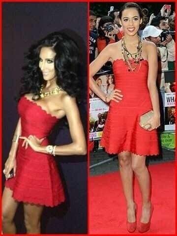 Top Spalline Rayon Quality Spessore Famosi Rosso Hl Linea Dress Dalla Vestito Carino Solido Una Senza Fasciatura BqFpBnrw