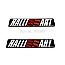 2 x Newest 3D Car Styling Aluminum Glue Decal Car Emblem Car Accessories Adhesive Badge for Ralliart Ralli Art(China)