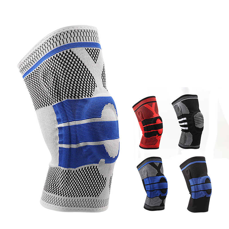 Silicone Knee Pad Knitted 3D Weaving Compression Spring Knee Protector Brace Basketball Knee Sleeve Support Sports Guard 1 Piece