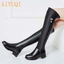 2020冬の本革の膝丈ブーツ女性暖かい細身のブーツプラス大サイズ35 43上膝のブーツ
