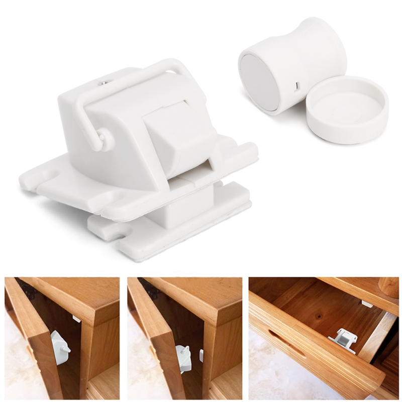 4Pcs Magnetic Cabinet Locks Child Proof Cupboards Drawers Invisible Baby Safety -m18