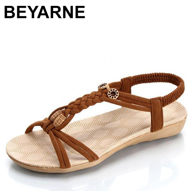 56dda19c95b1 BEYARNES Beach Sandals Flat Wedge Shoes Summer Comfortable Gladiator Bead Braided  Elastic Band Ladies Sandals Black