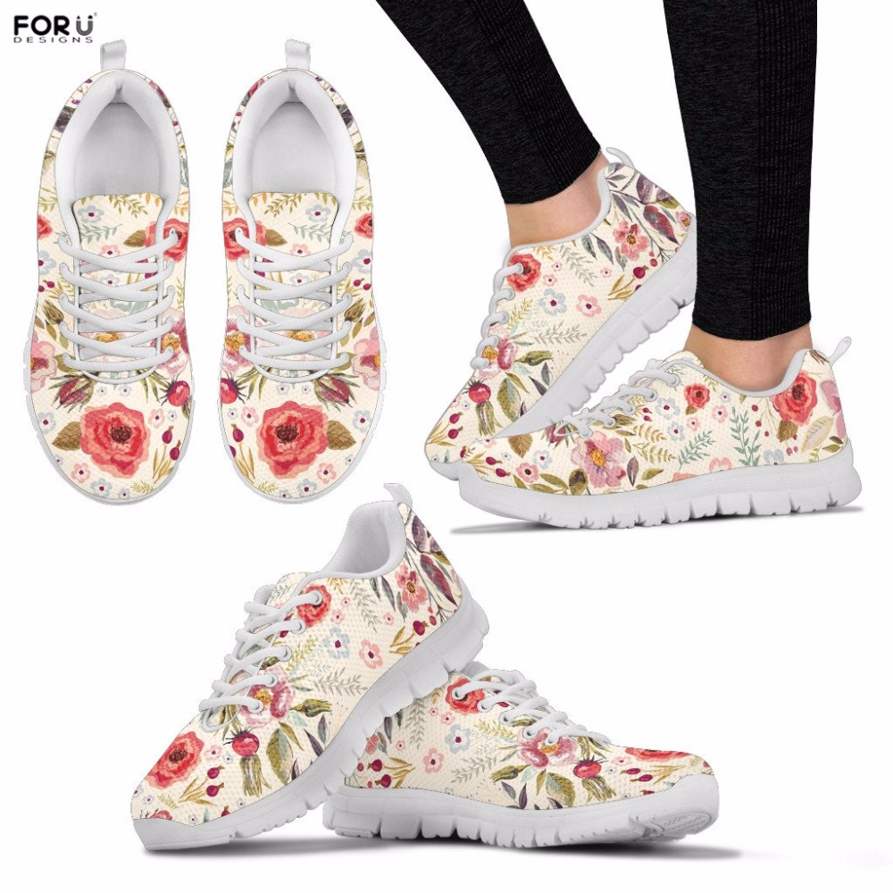 FORUDESIGNS Women Shoes Floral Print Women's Sneakers Casual Breathable Spring Sneakers for Teenager Girls Lace-up Flats Shoes forudesigns 3d flowers pattern women casual sneakers comfortable mesh flats shoes for female girls lace up shoes zapatos mujer