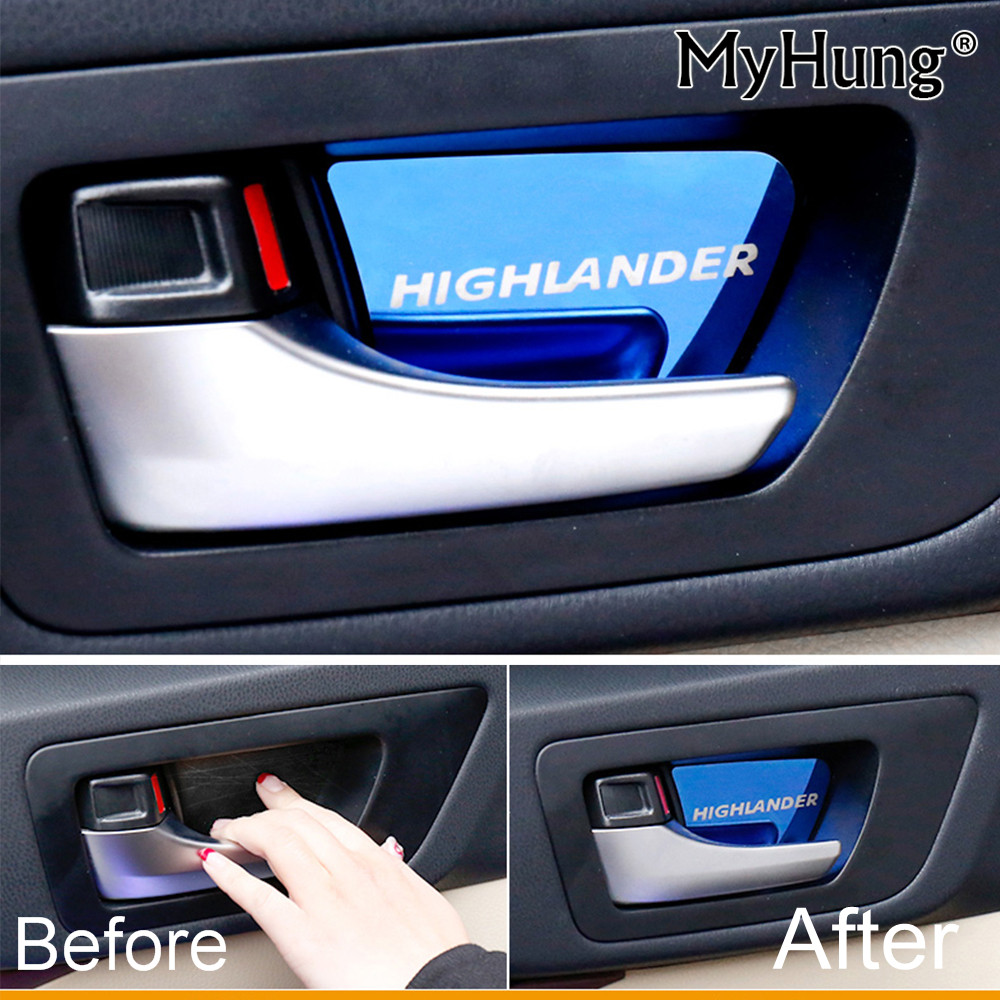 For Toyota Highlander Kluger 2015 2016 Interior Car Door Handle Bowl Patch Pad Stickers Sequin Stainless Steel Car Accessories