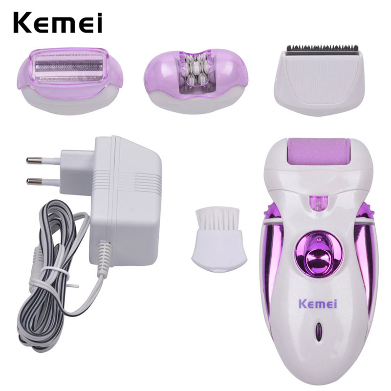 Kemei 4 in 1 Multi-functional Rechargeable Electric Depilation Epilator Shaver Hair Removal Women Callus Remover Trimmer Clipper original kemei women electric epilator rechargeable washable lady shaver hair body hair trimmer shave wool removal device