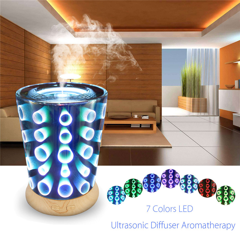 100ML LED Ultrasonic Aromatherapy Essential Oil Diffuser Home Humidifier 3D Night Lights Effect Ultra-quiet Portable hot sale humidifier aromatherapy essential oil 100 240v 100ml water capacity 20 30 square meters ultrasonic 12w 13 13 9 5cm