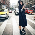 Women Denim Long Trench Coats 2016 Autumn Female Leisure Solid Long Sleeve Hooded Tops Casual Loose Outwear Cardigan