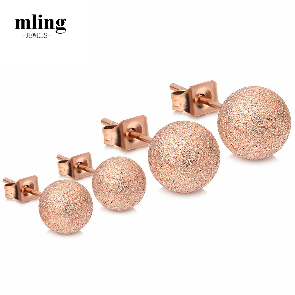 Mling Stainless Steel Earrings Ball Stud Ear Rose Gold Stud Earrings For Women Lady Fashion Jewelry Gifts pendientes mujer N6 image