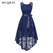 OML529Z#front short long back dark blue Bow Evening Dresses