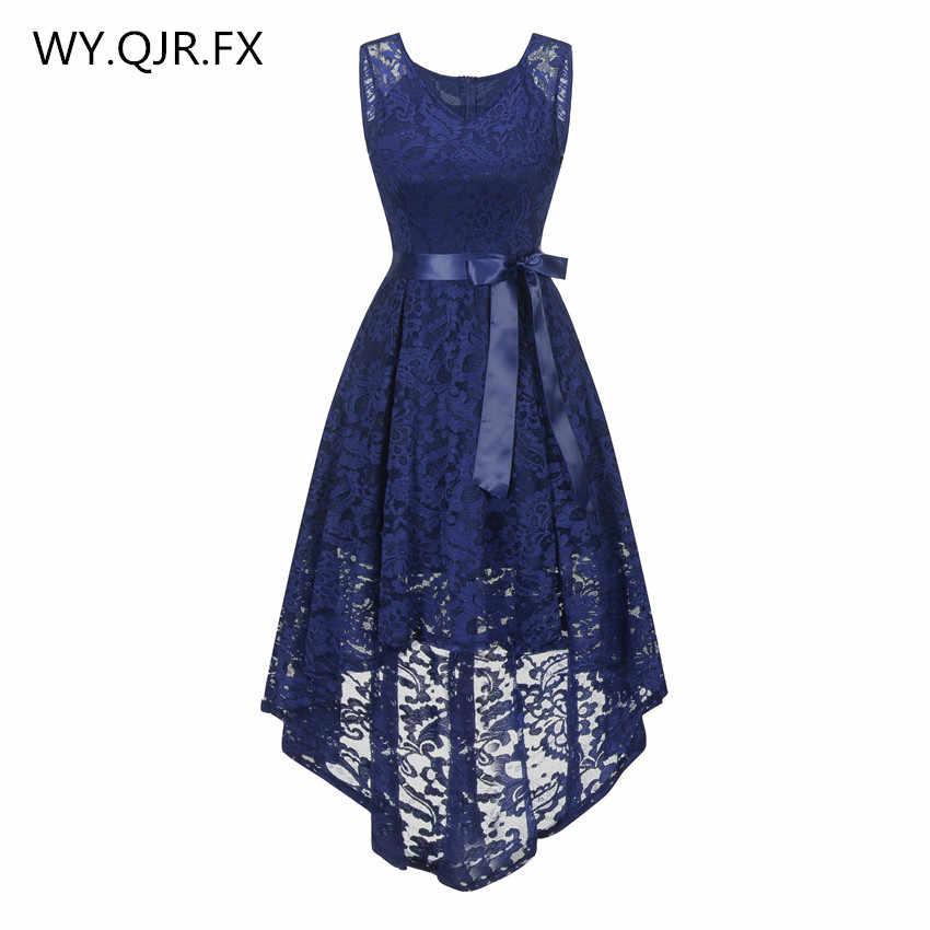 14a8bdc1cdb OML529Z   спереди Короткие Длинные сзади темно синий лук Вечерние платья  одновечерние классник партии платье на