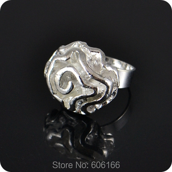 10x Silver Rose Flower Ring Enragement ring for Girl Women Party Wedding Fashion Jewelry image