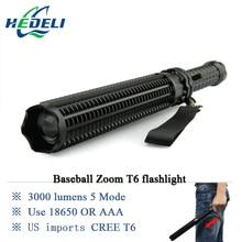 Lanterna poderosa telescópica baton led cree xml t6 linterna táctica de la antorcha de luz de flash autodefensa 18650 o aaa 3000 lúmenes