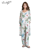 New Arrival Spring and Summer Women's Pajama Set 3 piece Home Clothes Sleep Set Long Pants Set Female Pajamas Cotton Home Suit