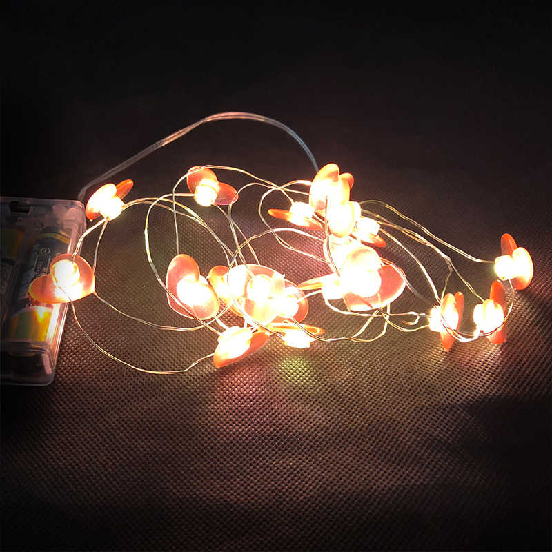 Red Heart Led Fairy Lights 78 74 Length 2aa Battery Operated Xmas Decor Light Copper