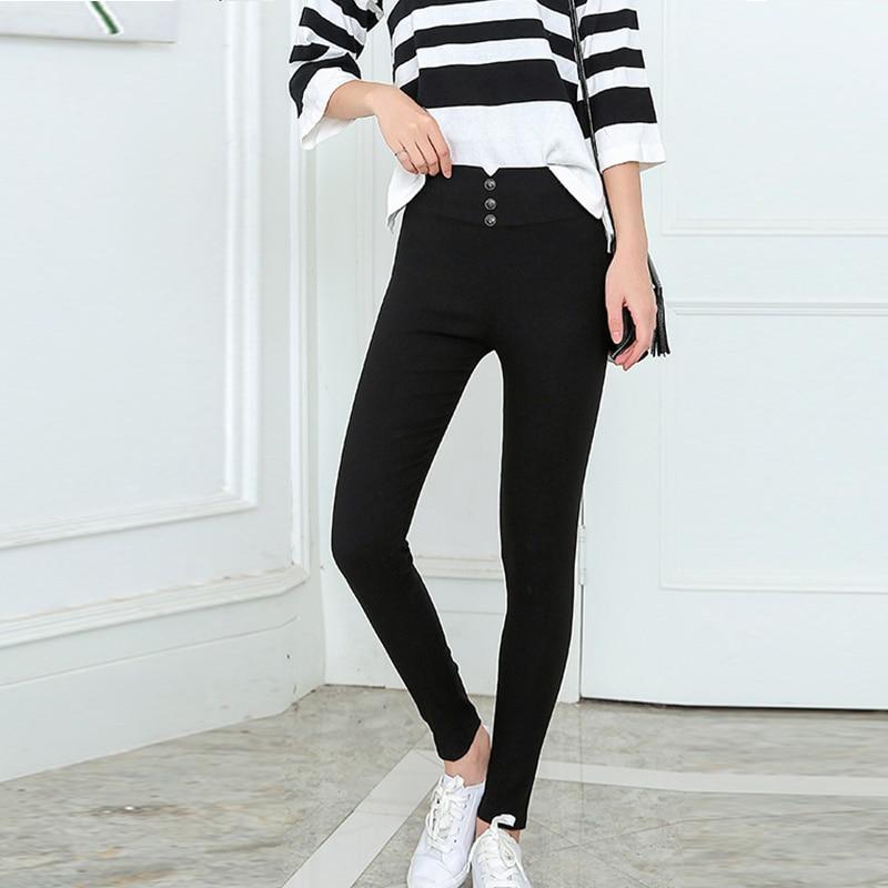 High Waist Black Women's Pencil Pants Button Leggings Ankle-length Bodycon Trousers For Women 2019 Autumn Spring Clothes Women