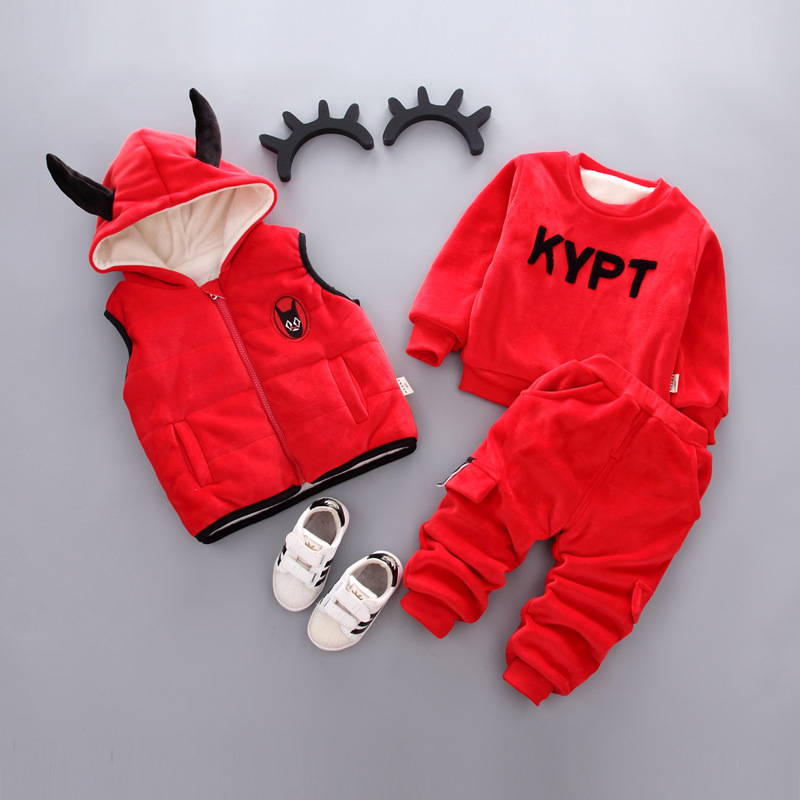 Children Clothes Boys Clothing Sets 2018 Autumn Winter Girls Clothes Vest+T-shirt+Pant 3pcs Outfit Kids Boy Sport Suit children boys clothes 2018 autumn winter girls clothes batman costume hoodie pant outfit kids sport suit for girls clothing sets