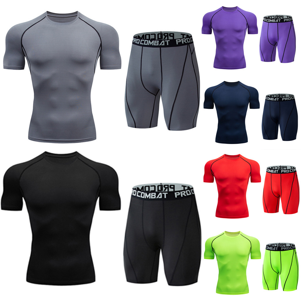 Casual Men's Set Fitness Sweat Set Breathable Short Sleeve Drying Elastic Shorts Set Sports Tight Set T611