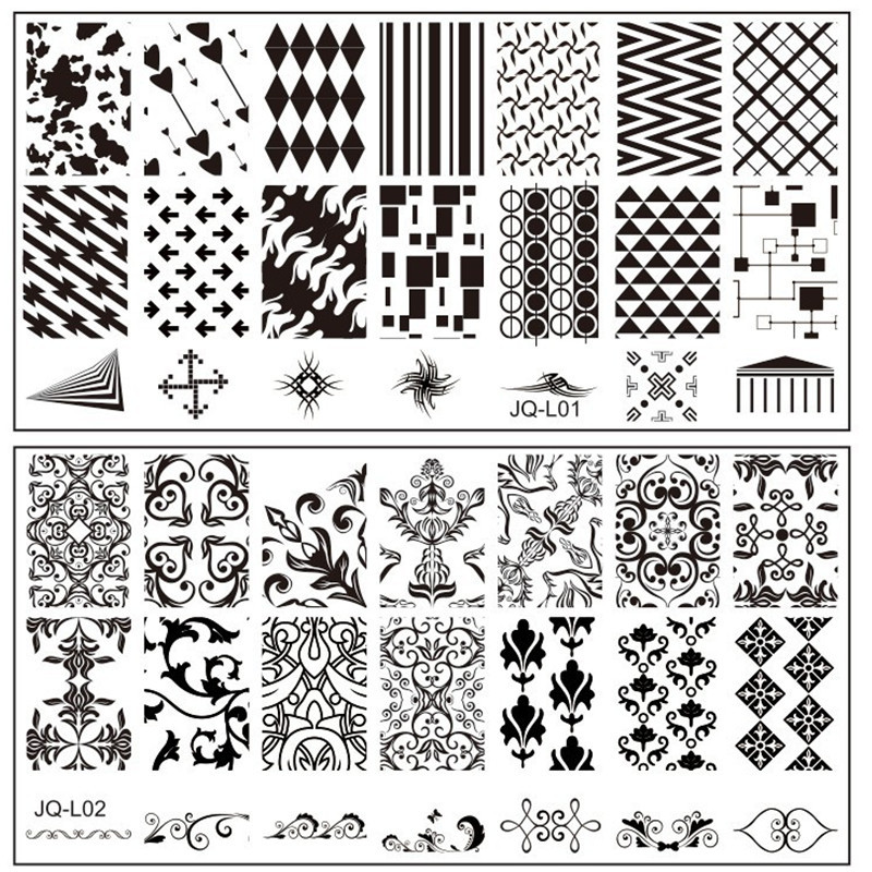 1 Piece New Arriving JQ L1 20 Size 612CM Nail Stamping Plates Konad Art Manicure Template Stamp Tools In Templates From Beauty