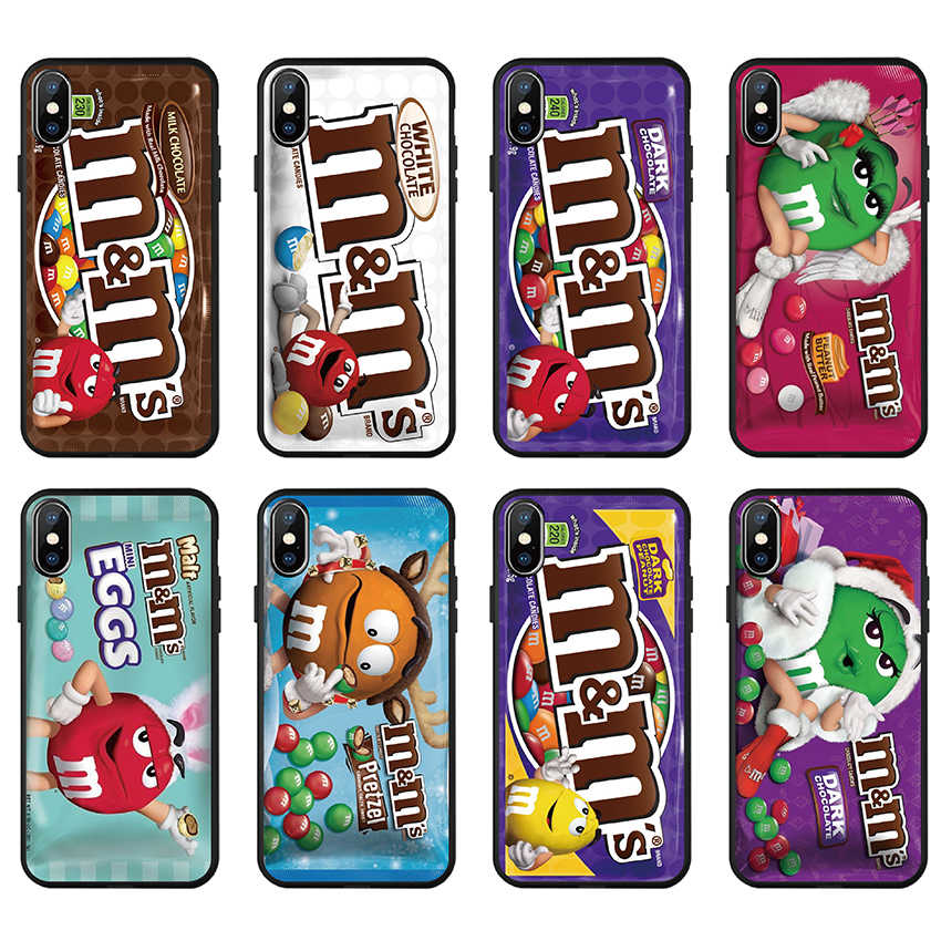 Case Voor iPhone 11 pro X XS Max XR 7 6 6S 8 Plus 5 S 5 S SE M & Ms Chocolade print Patroon zachte TPU Zachte Siliconen telefoon Cover